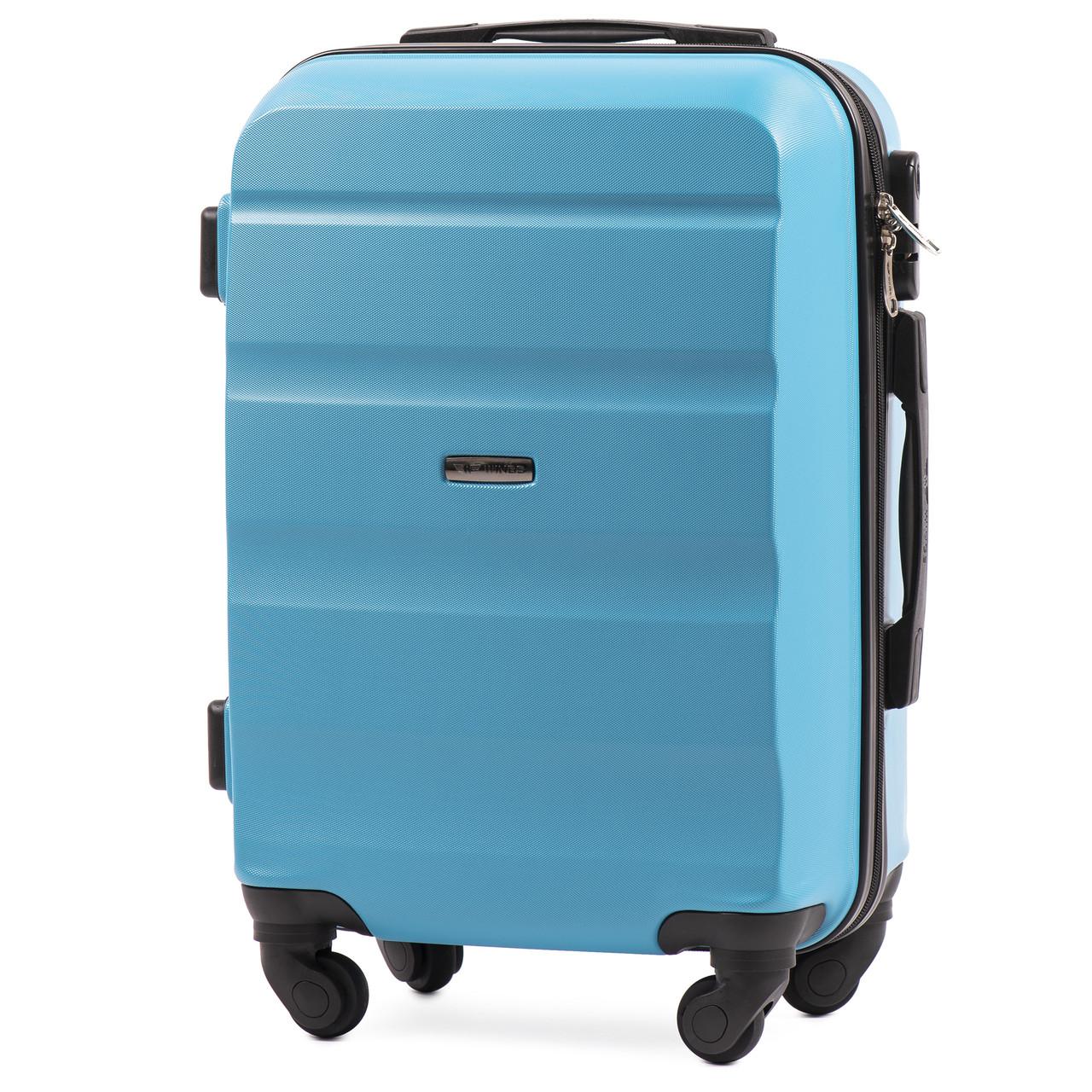 Микро пластиковый чемодан Wings AT01 на 4 колесах голубой
