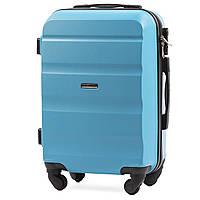 Микро пластиковый чемодан Wings AT01 на 4 колесах голубой, фото 1