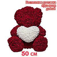 Мишка с сердечком из 3D роз бордовый, фото 1
