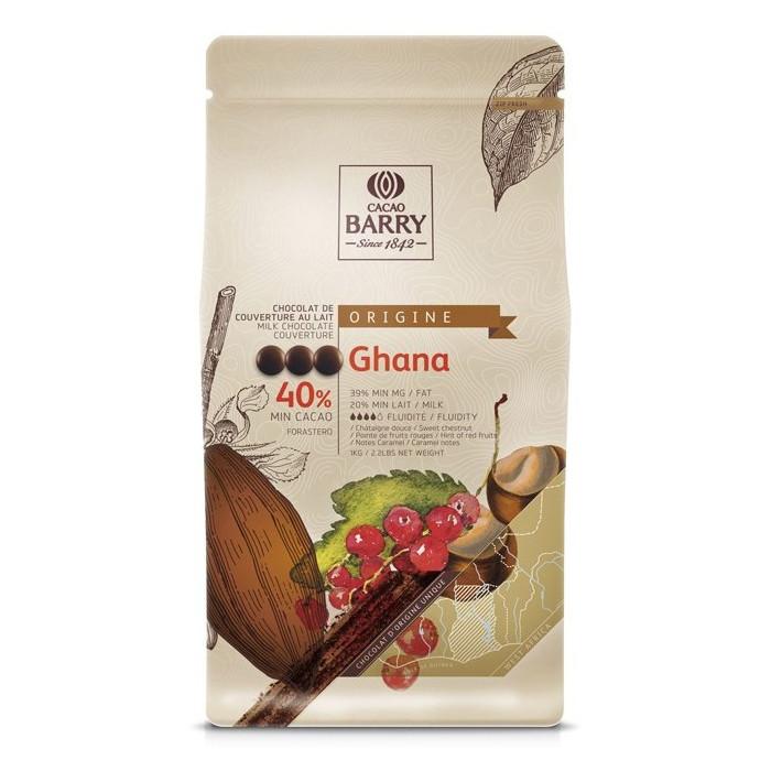Шоколад молочный Ghana 40% 100 г, Cacao Barry