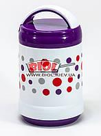 Термос харчовий 1,4 л зі скляною колбою (термо ланч-бокс), два відділення, фіолетовий Kamille KM-2100-2, фото 1