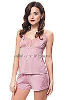 Жіноча піжама ELLEN з шортами Темно-Рожевий пудровий Модал 060 008 77379ab76526b