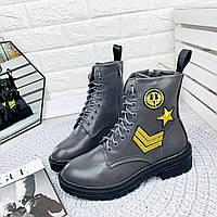 Крутые женские ботинки с нашивками. Польша. , фото 1