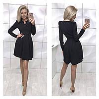 Элегантное платье с фигурным декольте и пышной юбкой чёрное 42-44 44-46, фото 1