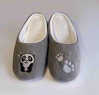 """Тапочки-шлёпки с вышивкой """"Панда"""" (серые)"""