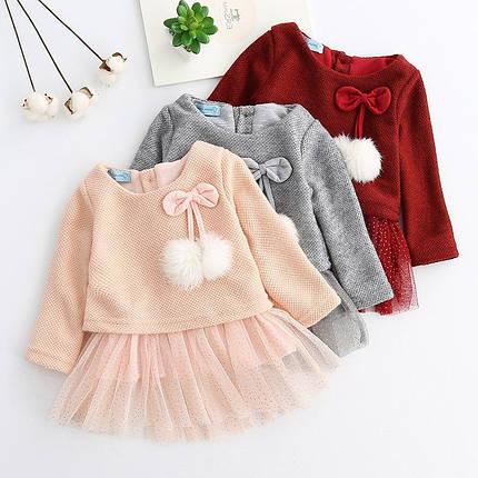 Платье нарядное детское  на девочку длинный рукав с бубончиками, фото 2