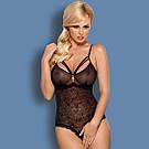 Боди женское кружевное с вырезом Obsessive 818 черный, фото 2