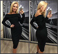 Элегантное красивое длинное ангоровое платье с отворотом чёрное 42-44-46, фото 1