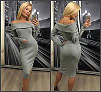 Элегантное красивое длинное ангоровое платье с отворотом серое 42-44-46, фото 1
