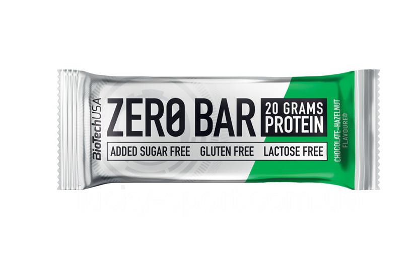 Протеїновий батончик BioTech Zero Bar 50g.(ШОКОЛАД - ГОРІХ)