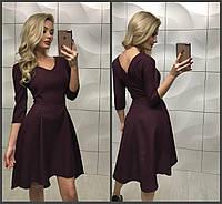 Красивое классическое платье с рассклешенной ассиметричной юбкой бордовое 42-44 44-46, фото 1