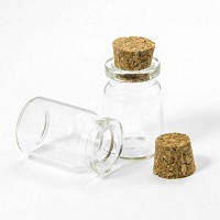 Скляна пляшечка для бісеру і намистин 40*22мм з пробкою 1шт