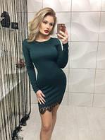 Красивое нарядное облегающее платье с гипюром кружевом зелёное 42-44 44-46 , фото 1