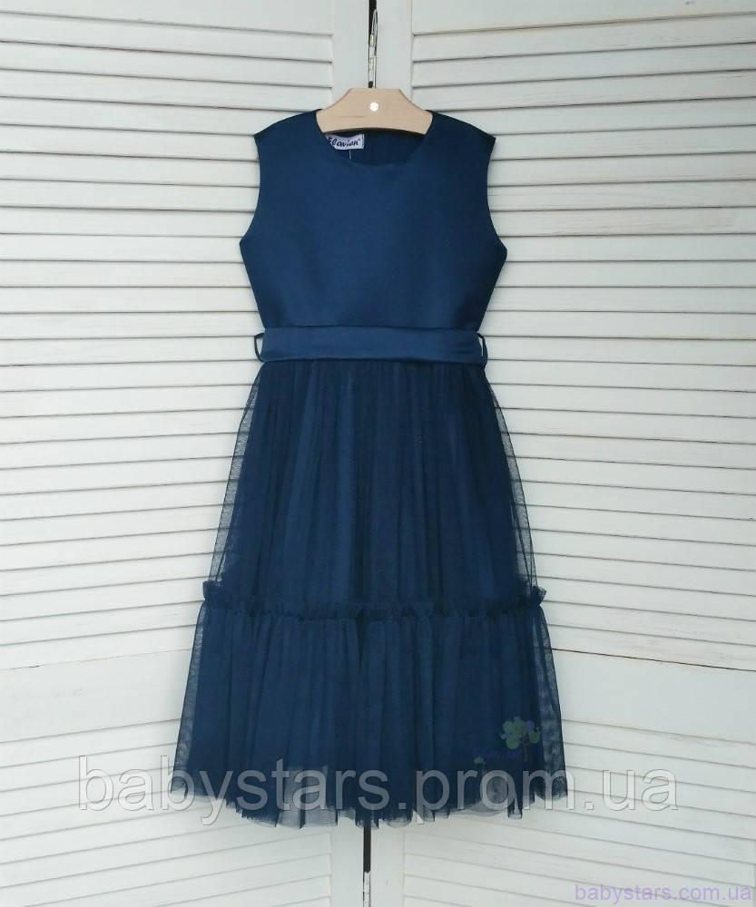 Темно-синее платье для девочки код: 7033, размеры: от 98 до 134