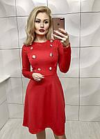 Красивое облегающее платье со слегка рассклешенной юбкой и декорированное пуговицами красное 42-44 44-46 , фото 1