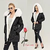 Зимняя женская Куртка-парка   MN П-7773 Черно-белая