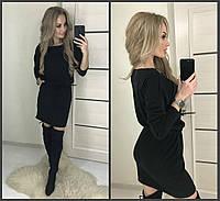 Свободное ангоровое платье на шнурочке с карманами чёрное 42-44-46, фото 1