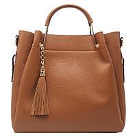 Женская кожаная сумка Italian fabric bags 1248 Коричневый, фото 1