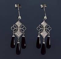 Женские серьги из белого золота с бриллиантами и ониксом С37Л1№18