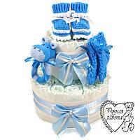 Торт з підгузників. Торт з памперсів, пінетки, шкарпетки, брязкальце. 0 - 2 місяці, блакитний