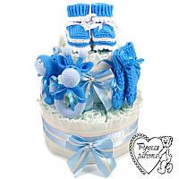 Торт з підгузників. Торт з памперсів, пінетки, шкарпетки, 2 брязкальця. 0 - 2 місяці, блакитний