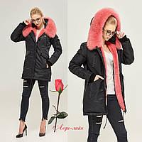 Зимняя женская Куртка-парка   MN П-7773 Черно-розовая