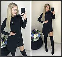 Стильное ассиметричное платье с молниями чёрное 42-44-46, фото 1