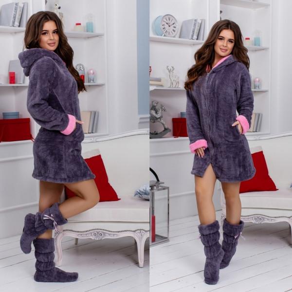 Женский махровый халат и сапожки! Комплект!