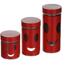 Набор баночек для специй универсальных 3 шт красный, белый