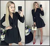 Стильное модное классическое платье-пиджак с пышной юбкой и поясом чёрное 42-44 44-46, фото 1