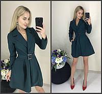 Стильное модное классическое платье-пиджак с пышной юбкой и поясом зелёное 42-44 44-46, фото 1