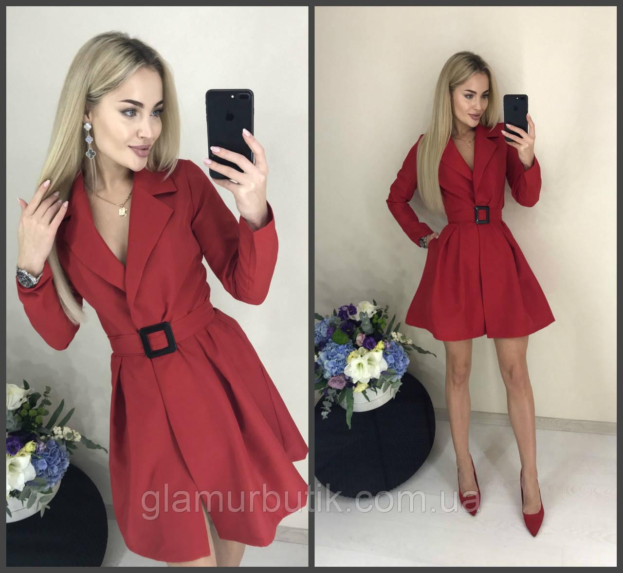 0fd7c6b71d0 Стильное модное классическое платье-пиджак с пышной юбкой и поясом красное  42-44 44