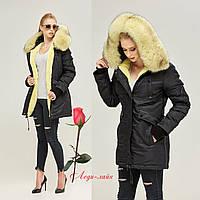 Зимняя женская Куртка-парка   MN П-7773 Черно-желтая