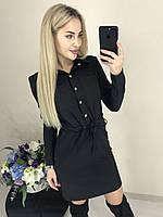 Стильное модное платье-рубашка на пуговицах со шнурочком и карманами чёрное 42-44 44-46, фото 1