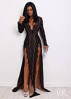 Вечернее платье из кружева с глубоким декольте и разрезами 42-44р