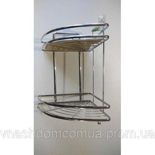 Полка в ванную угловая 2 яруса (Хромированная)