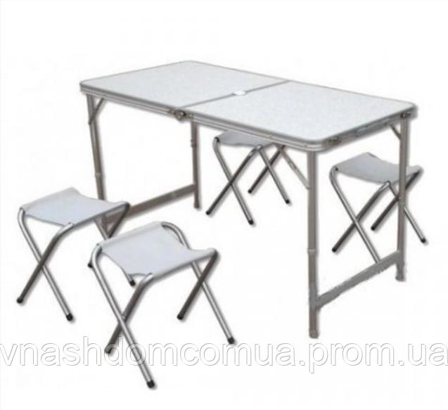 Стол раскладной для пикника 120*60 см и 4  стула Folding table
