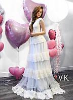 Белое кружевное платье с юбкой из фатина 42-46р