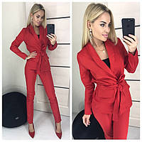 Класический женский костюм двойка жакет пиджак с поясом и брюки красный 42-44 44-46, фото 1