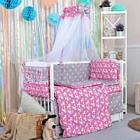 28bc34082ef3 Комплект постельного белья для новорожденных, из натурального хлопка  Единороги на розовом