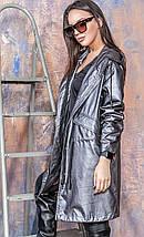 Куртка-парка из искусственной кожи с капюшоном темно-серого цвета Бритни 44-50 р, женские куртки парки оптом, фото 3