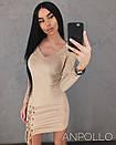 Замшевое платье со шнуровкой на ноге 17py2346, фото 2