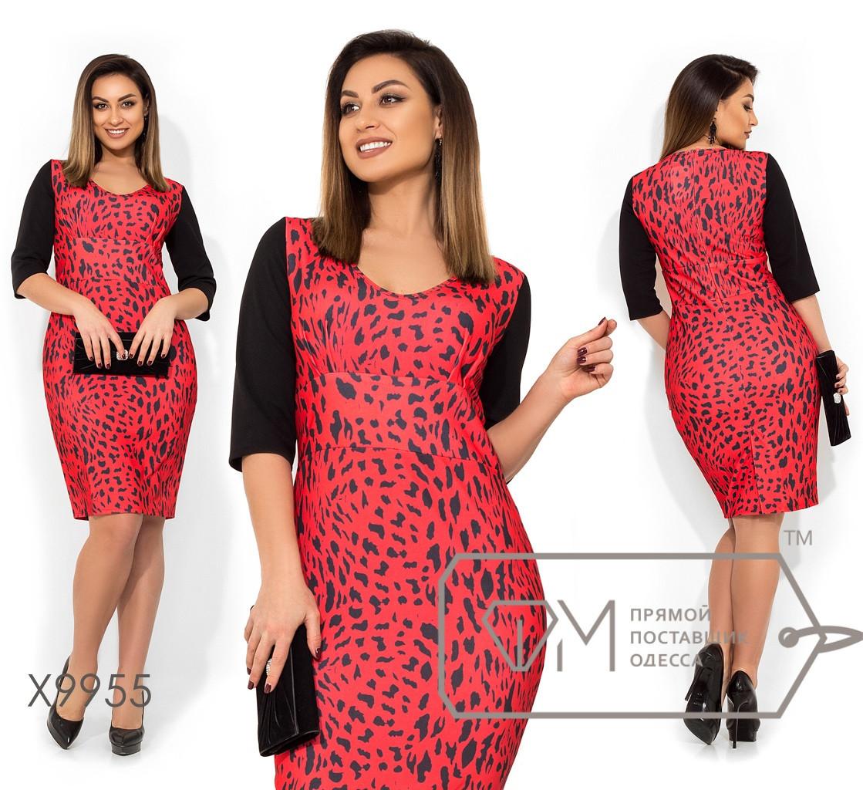 Принтованное платье с рукавом до локтя в больших размерах X9955