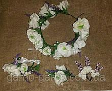 Комплект Эустома лаванда фрезии Свадебные украшения  Бело-фиолетовая свадьба