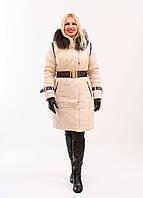 74a0e2cda53 Зимнее пальто женское Paradise светло-бежевое с натуральным мехом енота