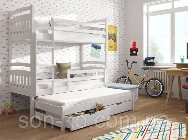 Кровать трехъярусная Денис в белом цвете