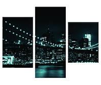 """Интерьерные панно на холсте из 3-х частей """"Бруклин ночью"""""""