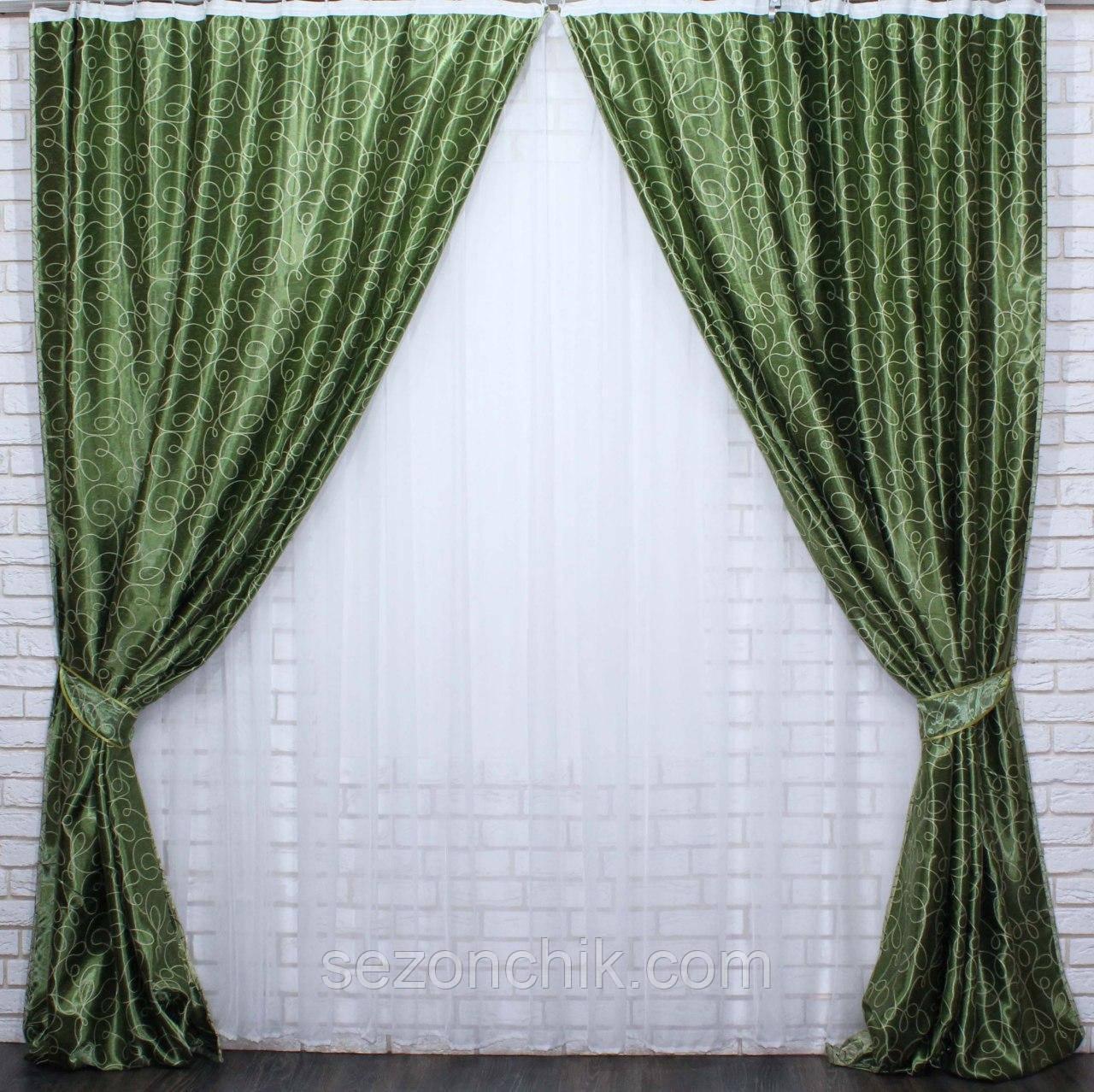 Зеленые портеры красивый комплект штор
