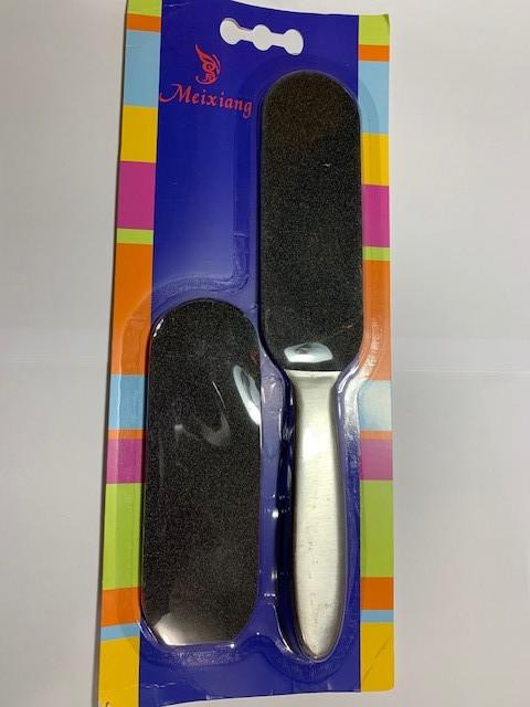 Пилка для ног - основа металлическая и 10 сменных файлов ( с прямой ручкой)