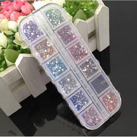 Набор стразов для ногтей 12 цветов в коробочке